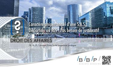 De SAS à société unipersonnelle. Déclaration au RCS - Avocat Paris