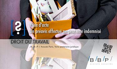Prise d'acte, préavis effectué, pas indemnisé ! - Avocat Paris