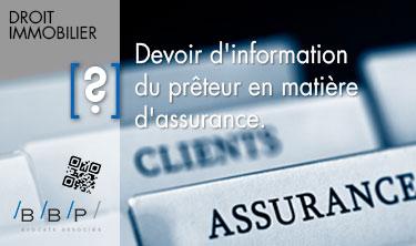 Devoir d'information du prêteur en matière d'assurance - Avocat Paris